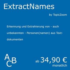 Symbolbild für Service Extract Names: Personen in Textdokumenten automatisch erkennen - ein Natural Language Processing Service von curryAPI und TopicZoom