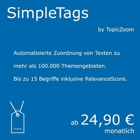 Symbolbild Simple Autotagging - ein Natural Language Processing Service von curryAPI und TopicZoom